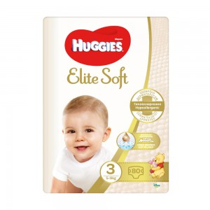 Huggies Elite Soft 3 (5-9kg) 80gb.