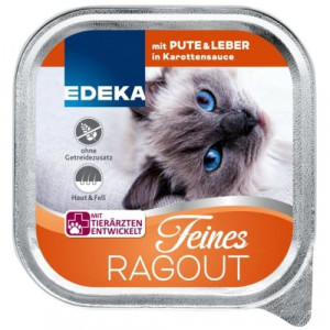 Edeka Feines Ragout slapjā barība kaķiem ar tītaru & aknām burkānu mērcē 100g