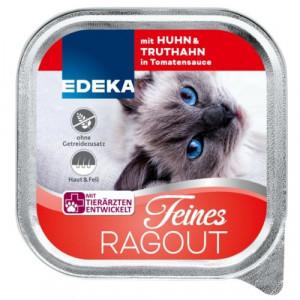 Edeka Feines Ragout barība kaķiem ar vistu un tītaru tomātu mērcē 100g