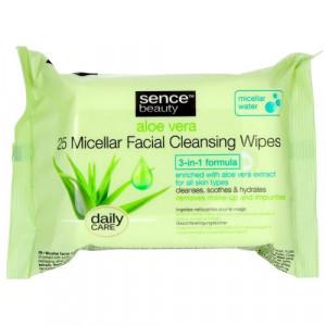 Sence™ beauty micelārās sejas tīrīšanas salvetes ar alveju. x25