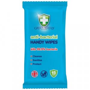Green Shield Anti-Bacterial Handy Wipes x15