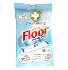 Green Shield care and protect™ antibakteriālas grīdas virsmu tīrīšanas mitrās salvetes 4in1 (mazās salvetes)  x24