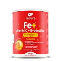 Nature's finest Iron + B-komplex+vitamin C. Augstas absorbcijas dzels glukonāta, C un B grupas vitmaīnu komplekss. Bez cukura. 150g | Multum