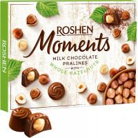 ROSHEN MOMENTS šokolādes konfektes ar veseliem lazdu riekstiem 116g | Multum