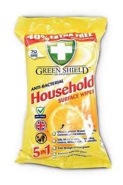 Green Shield Household antibakteriālas mājsaimniecības virsmu tīrīšanas mitrās salvetes  x70 | Multum.lv