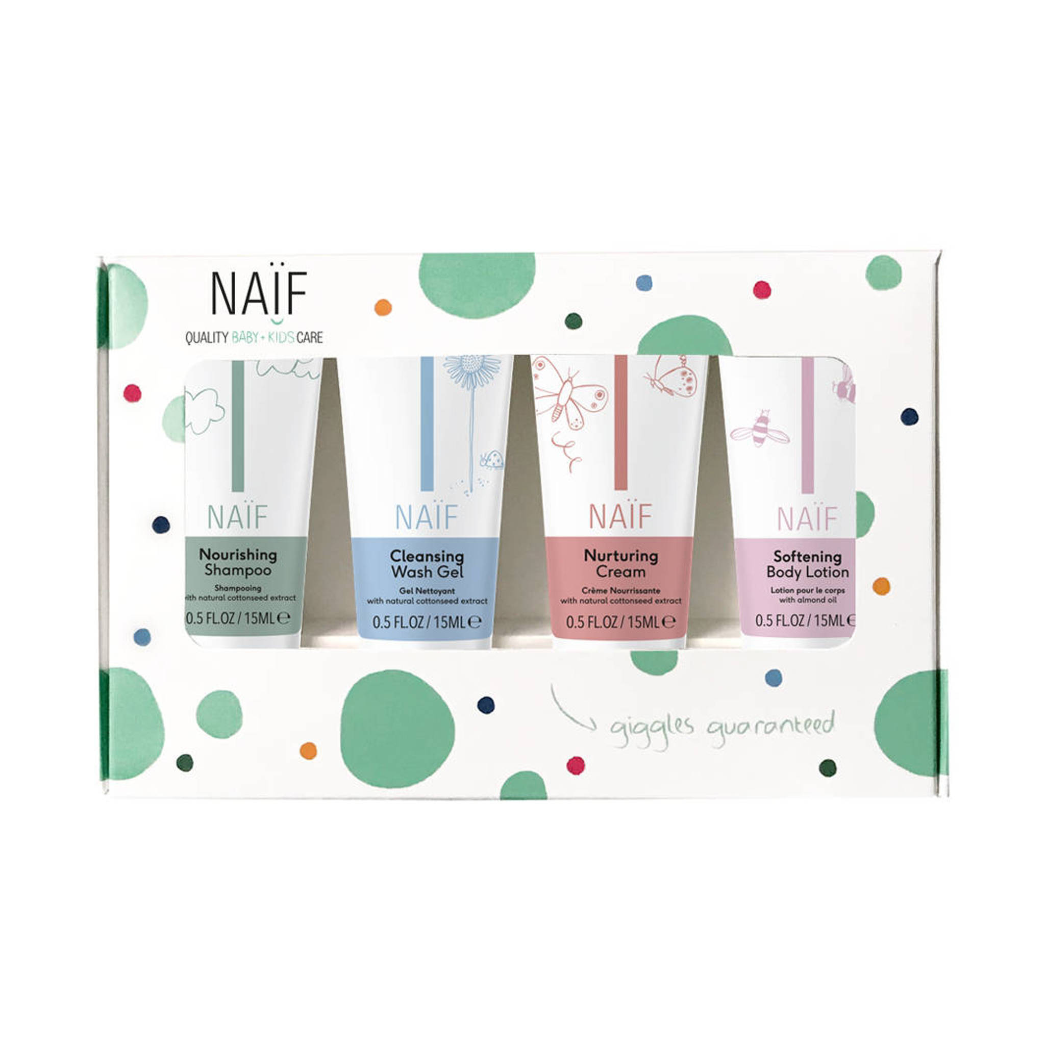 Naif 100% dabisks, hipoalerģisks, The Mini Set (4x travel size product 15ml)