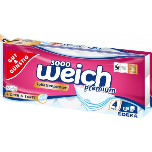 G&G Sooo Weich Premium 4-slāņu tualetes papīrs x10   Multum