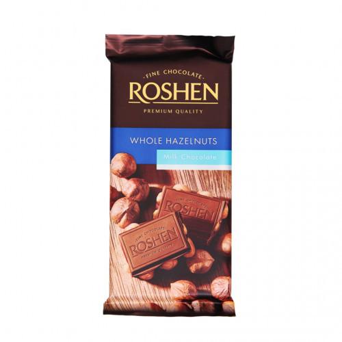 ROSHEN piena šokolāde ar veseliem lazdu riekstiem 90g | Multum