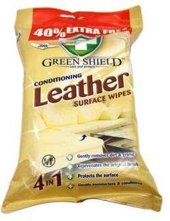Green Shield mitrās salvetes ādas izstrādājumu tīrīšanai 70gab.