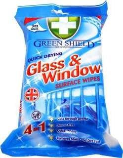 Green Shield Glass & Window Stiklu un logu mitrās tīrīšanas salvetes x70