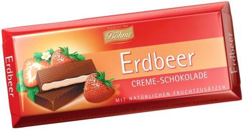 Bohmetumsā šokolāde ar zemeņu krēma pildījumu 100g